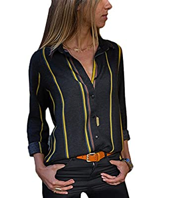 Happy Sailed Womens Striped Long Sleeve Button Down Shirts