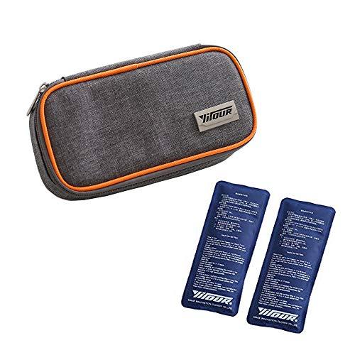 Orange 8x10 Bereich (Insulin Kühltasche Diabetiker Organizer Tragbar Medikamente Kühler Tasche Insulin Cooler Bag Diabetikerzubehör with 2 Kühlakkus für Medikamente Thermotasche - 21 x 10 x 4.5 cm (Orange))