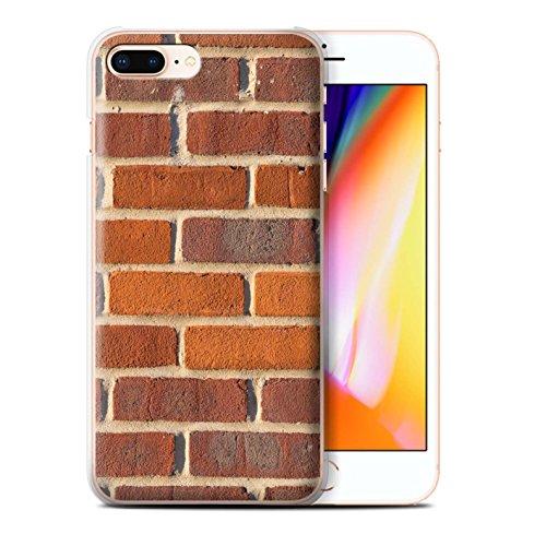 Stuff4 Hülle / Case für Apple iPhone 8 Plus / Feuerstein/Stein Muster / Mauerwerk Kollektion Rot