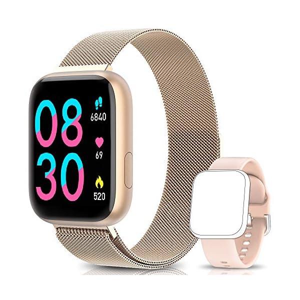 BANLVS Smartwatch, 1.4 Inch Reloj Inteligente IP67 con Pulsómetro Presión Arterial, Monitor de Sueño Podómetro Contador de Caloría, Smartwatch Mujer Reloj Inteligente para Hombre Mujer Niños 1