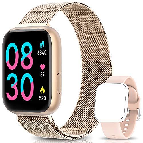 BANLVS Smartwatch Reloj Inteligente IP67 con Correa Reemplazable Pulsómetro, Monitor de Sueño,...
