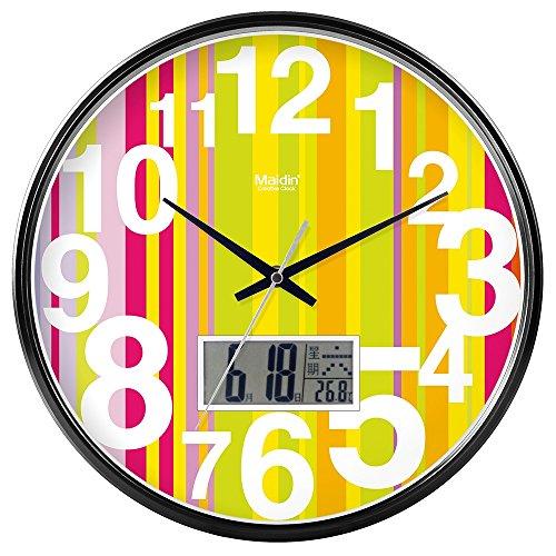 DIDADI Wall Clock Kreisförmige Uhrenbatterie mute Wanduhr hinter dem Motor Schlafzimmer beigefügte Tabelle Herr Ding clock Kalender Quarzuhr Wohnzimmer, 10-Zoll-LCD, black edition