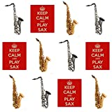 Keep Calm and Play ? SAXOPHONES Saxophone comestibles pour cupcakes col montant (Lot de 12)