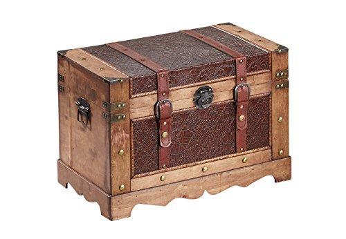 Kobolo Holztruhe Schmuckkästchen Schnallen und Schloss im antiken Vintagedesign aus Holz
