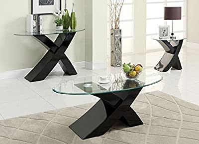 "Designer BLACK ""X"" MILANO High Gloss & Glass Coffee Table Modern Furniture*"