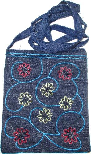 Trendige Jeans Umhängetasche mit Stickereien 16x18 cm, Magnetverschluss Stickereimuster 8