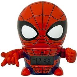 Despertador infantil BulbBotz con luz nocturna con figurita de Spiderman de Marvel con sonido característico   rojo/azul  plástico   14 cm de altura   Pantalla LCD   chico chica   oficial
