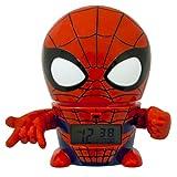 BulbBotz 2021425 Sveglia e luce notturna per bambini Marvel Spider Man con effetti sonori |rosso/blu | plastica | 14 cm | Schermo LCD | ragazza ragazzo | per bambini