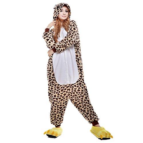 Amurleopard Damen/Herren Jumpsuit Kostüm Schlafanzug Pyjamas Einteiler, Leopard, M( Körpergröße: 160-169 CM)