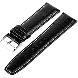 Marchel WB20 Grained Leather Bracelet Watch Band Watch Strap Black 18 mm Watch Strap