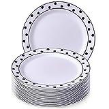 VAJILLA PARA FIESTAS DESECHABLE DE 20 PIEZAS | 20 platos grandes| Platos de plástico resistente | Elegante aspecto de porcelana fina | Para bodas y comidas de lujo (Dots - Negro/Blanco | 26 cm)
