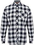 Tokyo Laundry Herren Langarm Kariertes Hemd - Weiß& Neu Marineblau, Medium