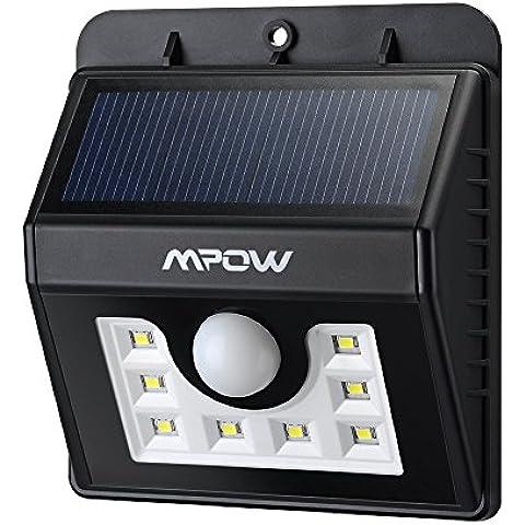 Mpow Foco Solar 8 LED Versión Mejorada Lámpara Solar Impermeable con Senosr de Movimiento,Lámpara de Pared / Jardín para Patio, Terraza, Patio, Jardín, Casa, Camino de Entrada, Escaleras, Pared