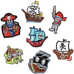 Toppe ricamate con pirati, termoadesive o da cucire, applicazioni per indumenti, distintivi, giacche, zaini, sciarpe, cuscini, magliette - 7 pezzi