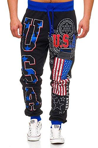 Violento Herren Jogginghose lang USA Design 540 (XXL, Schwarz USA)