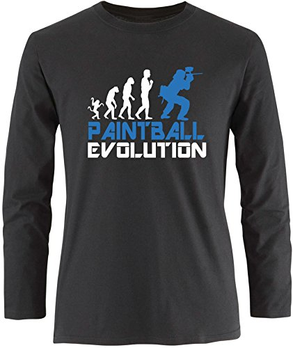 EZYshirt® Paintball Evolution Herren Longsleeve Schwarz/Weiss/Blau