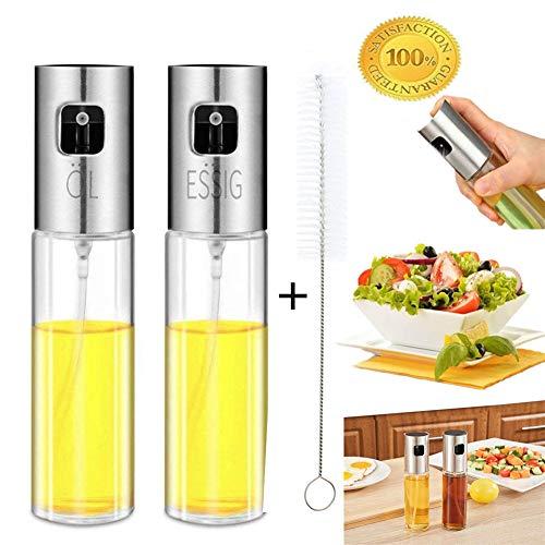 Nifogo Ebulizzatore Olio Cucina in Vetro - Portable Olive Oil Sprayer Dispenser per Pasta, Insalata, Padella, Griglia, Barbecue (2 pz con 1 spazzole Gratis)
