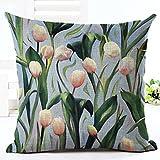 Tulip : Gemini_mall 18 x 18inch Square Throw Pillow Case Home Decor Cotton Linen Cushion Cover Amazon Rs. 570.00