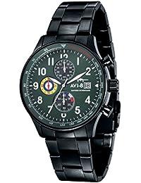 AVI-8 AV-4011-14 - Reloj cronógrafo de cuarzo para hombre con esfera verde y pulsera de acero inoxidable plateada