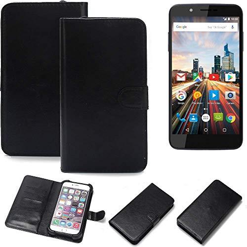 K-S-Trade 360° Wallet Case Handyhülle Archos 55 Helium 4Seasons Schutz Hülle Smartphone Flip Cover Flipstyle Tasche Schutzhülle Flipcover Slim Bumper schwarz, 1x