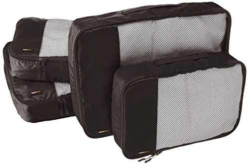 AmazonBasics Packing Cubes/Travel Pouch/Travel Organizer - 2 Medium and 2 Large, Black (4-Piece Set)