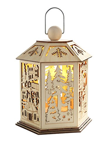 WeRChristmas 25 cm Pre-Lit Wooden Lantern Christmas Decoration with Warm LED Lights, White