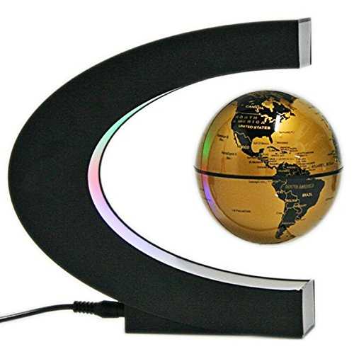 Preisvergleich Produktbild Megadream Globe 360°LED Light C Shape Magnetic Levitation Floating Globe World Map Anti Gravity Office Table Decorate, Mysteriously Suspended in Air World Map for Learning Education Teaching Home Office Desk Decoration Fathers day Christmas Gift (EU Wall Adapter, Gold)