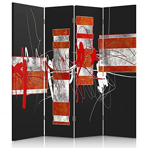 Feeby Frames Biombo impreso sobre lona, tabique decorativo para habitaciones, a una cara, de 4 piezas (145x180 cm), ABSTRACCIÓN, ZIGZAGS, MANCHAS, RECTÁNGULOS, ROJO, BLANCO, NEGRO