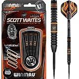 Winmau Scott Waites 90% tungsteno, punta de acero–Onyx Negro–25G–incluye dardos esquina bolígrafo con curvas