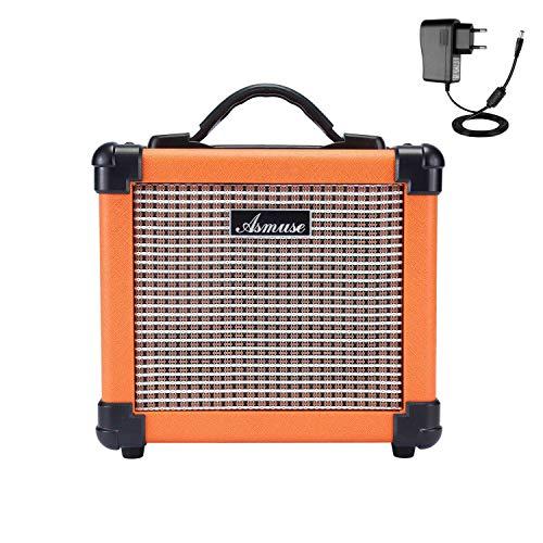 Asmuse 10W Mini Gitarrenverstärker Guitar Amplifier Bassverstärker Kopfhörer Übung mit Gain Distortion Effekt and EQ (Treble & Bass)