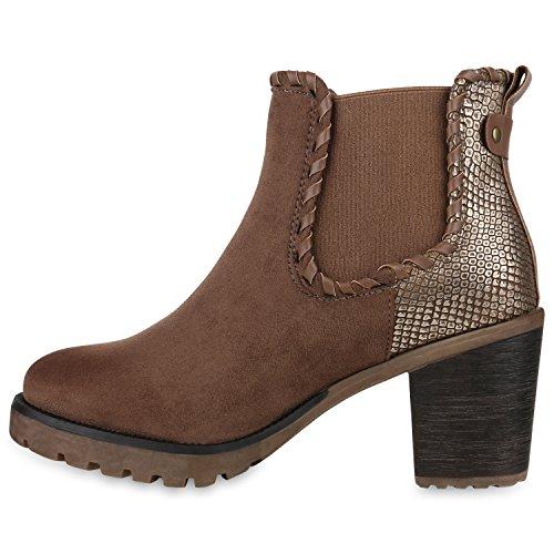 Damen Stiefeletten Chelsea Boots Profilsohle Blockabsatz Schuhe Khaki Snake