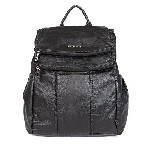 21KBARCELONA Cuoio lavato di alta qualità zaino borsa K15311 (Nero)
