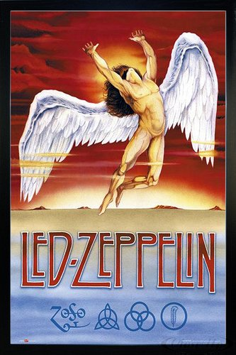 Close Up Led Zeppelin Poster Swan Song (66x96,5 cm) gerahmt in: Rahmen schwarz Led Zeppelin-swan Song-poster