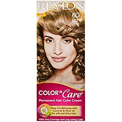 Revlon Color N Care Permanent Hair Color Cream, Light Golden Brown 6G