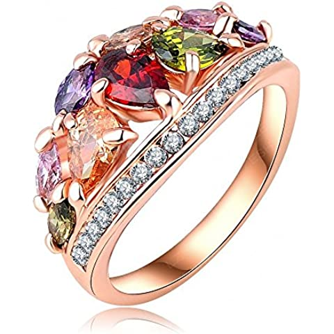 AnaZoz Joyería de Moda Multi Color Anillos de Dedo Genuino SWA Elements Cristal Austria 18K Chapado en Oro Rosa Anillos Para Mujer