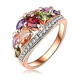 AnazoZ Joyería de Moda Multi Color Anillos de Dedo Genuino SWA Elements Cristal Austria 18K Chapado en Oro Rosa Anillos Para Mujer Tamaño 17