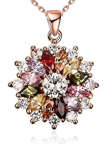 Damen halskette blumen Schneeflocke bunte Kette mit Anhänger Halsketten mit CZ Zirkonia Rose Gold überzogener Borong - 5 Orecchini Di Pietra
