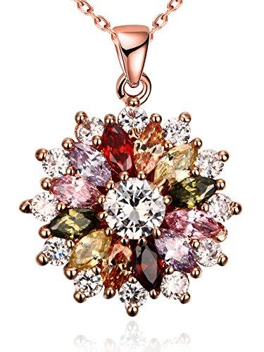 Fiocco di neve fiore multicolore collane del pendente con la cz rosa placcato oro per le donne ragazze regalo di compleanno borong