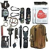 Kit di sopravvivenza, kit di sopravvivenza tattico SOS di emergenza 16 in 1 esterno per deserto / viaggio / auto / escursionismo / attrezzatura da campeggio, kit di pronto soccorso d'emergenza con seg