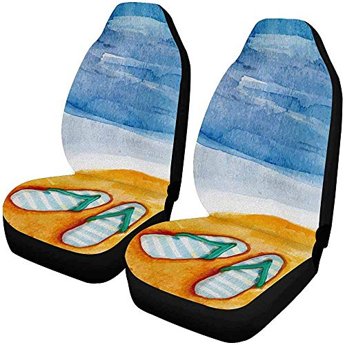 Sommer, Sand Flip-Flops für Vordersitze, nur Komplettset mit 2 Sitzbezügen, für den Autositz, Matt, 14-17 Zoll