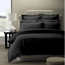 Story@Home 300 TC Cotton Double Bedsheet with 2 Pillow Covers - King Size, Black