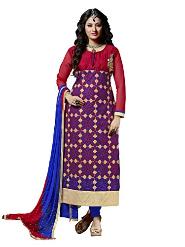 Kanchnar Women's Net and Bhagalpuri Silk Embroidered Red and Blue Party Wear...