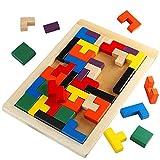Lewo Tetris Puzzle Burr Tangram Bloc en Bois Jeu éducatif Jouets de Cerveau pour Les Enfants (40 Pièces)