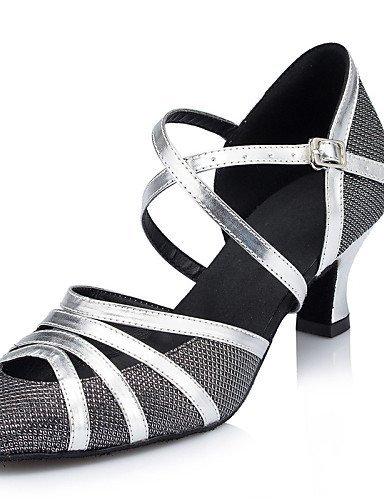 ShangYi Chaussures de danse ( Noir ) - Non Personnalisables - Talon Cubain - Cuir / Similicuir / Paillette Brillante -Latine / Jazz / Moderne /