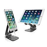 iPhone iPad Stand, Dual einstellbare Panels Aluminium Telefon und Tablet Stand Stand, Desktop...