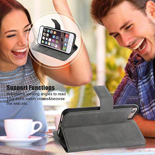 Cucell iPhone 6 / 6S Inoltre cassa dellunità di elaborazione cassa del cuoio copertura del basamento, caso ibrido Ultra-Slim TPU del silicone con il supporto della carta di credito Cava