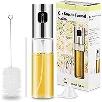Magicfun Öl Sprüher, Öl Essig Sprühflasche Zerstäuber Öl-Sprayer Spender Glas Pump mit Trichter Bürste für Küche Grill
