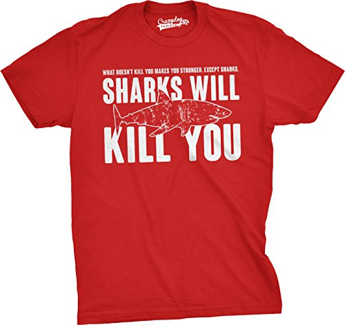 Crazy Dog TShirts - Mens Sharks Will Kill You Funny T Shirt Sarcasm Novelty Offensive Tee For Guys - Divertente Uomo Maglietta Rosso