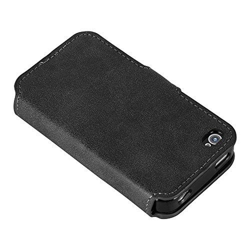 Cadorabo - Aspect Rétro Etui Housse pour Apple iPhone 4 / 4S - Used-Look Coque Case Cover Bumper Portefeuille (avec stand horizontale et fentes pour cartes) en in ROUGE-MAT NOIR-MAT