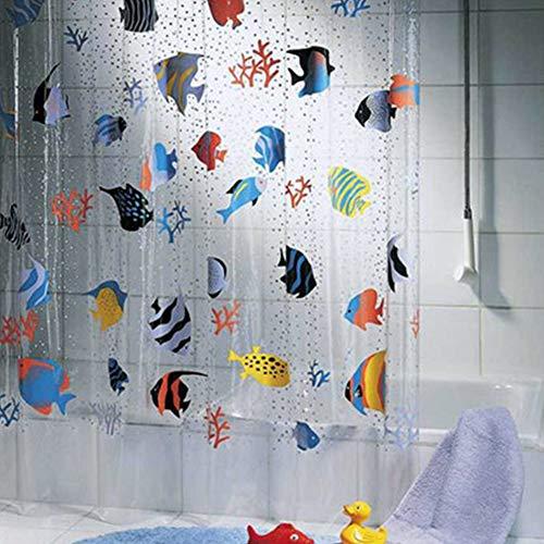 HOMYY Transparente Fische Durchsichtiger Kunststoff Duschvorhang, Wasserdichte Transparente PVC Duschvorhänge, Bunte Druck Unterwasserwelt Tropische Fische Badezimmer Duschvorhänge(180x200cm)